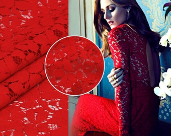 Elegant Red Lace Fabric By The Yard Floral Printed Lace Fabric Evening Dress Fabric Women Clothing Fabric Skirt Fabric Shirt Fabric -SANSE