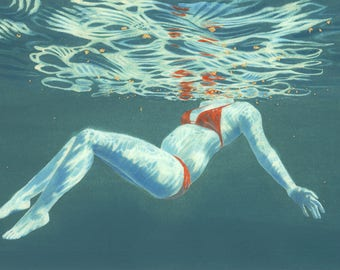 Art print - 'Reflections III' - A3 size - from a painting by Nancy Farmer. Open water swimming, wild swimming. Underwater swimmer.