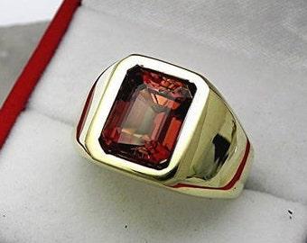 AAAA Salmon Bronze Bi color Tourmaline 9x8mm  4.18 Carats   Heavy 14K Yellow gold Emerald cut Mans Ring 15-16 grams 1730