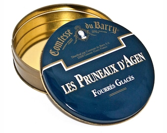 Blue Round Tin Box, Vintage French Tin Box, Comtesse du Barry Box, Collectible Tin, Trinket Metal Tin, Candy Box Made in France
