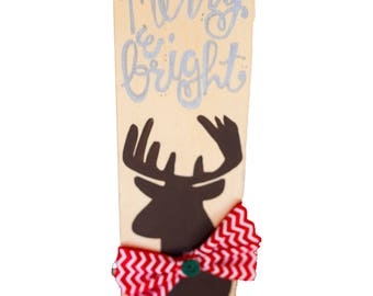 Merry & Bright Deer Wooden Sign