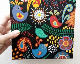 Retro Style Decor -  Bird Tile - Hand Painted Tile - Bird Art-  Colorful Birds Decor - Retro Art -Retro Birds- Decorative Tile- Bird Lovers