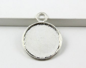 10Pcs Antique Silver Round Cabochon Base Setting Charm Pendant 26mm (PND830-23463)
