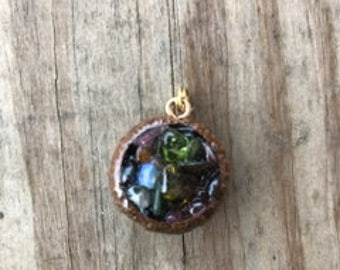 mixed tourmaline and opal acorn necklace