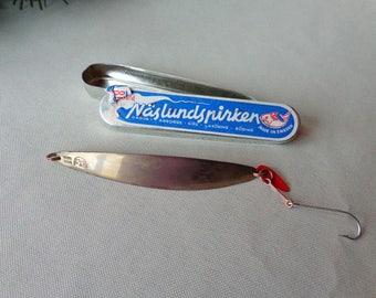 Vintage NOS Naslundspirken 80 Gold Finish Fishing Lure Made in Sweden Original Box
