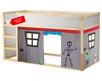 Scary Bed tent / Loft bed curtain - free design and colors customization