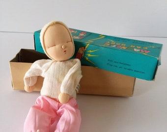 Vintage Shackman Magnetic Car Sleepy Baby Pink Stockingette Doll 1957