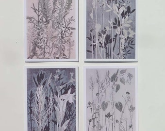 Pack of 4 Blank art card greetings cards A6 Summer Gathering Modern floral botanical design from original nature prints by Stef Mitchell