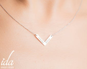 Sterling Silver Necklace - Two Name Necklace - V Necklace - Couples Gift - Personalized Gift For Her - Engraved Necklace - Simple Necklace