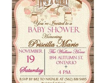 Rustic Girl Baby Shower Invite