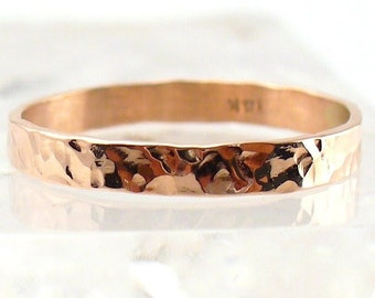 14k Rose Gold Ring Band Solid Gold Ring Hammered Gold Ring Rose Gold Wedding Band Engagement Ring Promise Ring Rose Gold Band Size 3-9