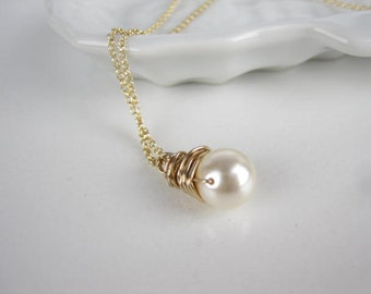 Pearl wire wrapped necklace, Swarovski 8mm Cream pearl, 14k gold filled Tiny Rolo necklace