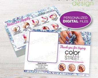 "Color Street Twosie Postcard 4""x6"", Nail Strips, Application Instructions, Mardi Gras - Personalized PRINTABLE Digital File"