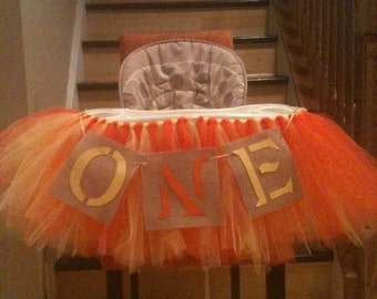 fall, burlap, high chair tutu skirt, bib, table skirt, cake smash, baby girl first birthday, banner, i am 1