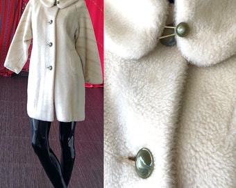 40s Faux Fur Coat White Arctic Jade Coat Vintage 40s National Recovery Board Jacket