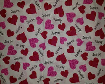 """Pink and Red Valentines Hearts and """"Love"""" on White Fabric Fabric by the Yard"""