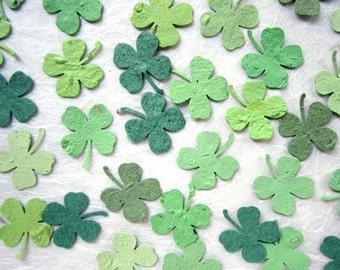 200 Plantable Paper Clovers Confetti - Irish Wedding Favors - Plantable Flower Seed Clovers Green Wedding Favor - Shamrock Four Leaf Clovers