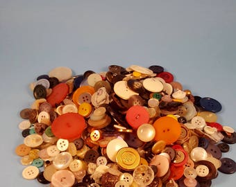 Lot of Vintage Buttons...plastic & metal...approximately 1 lb...great for sewing or crafting...various colors and sizes