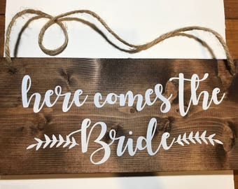 Here Comes the Bride Sign-Here Comes the Bride-Ring Bearer Sign-Ring Bearer-Flower Girl-Wedding Sign-Wood Sign-Wood Wedding Sign-Rustic