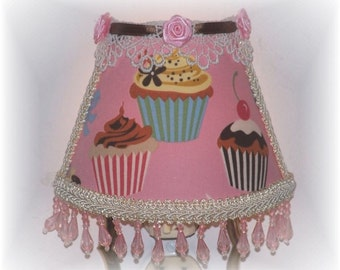 NEW RETRO Fabric Sweet Tooth Pink Background Chocolate CUPCAKES Night Light