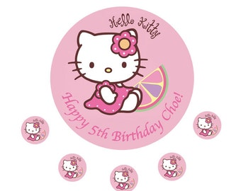 "Hello Kitty personalised Cake Topper Edible Wafer Paper 7.5"" Pink b"