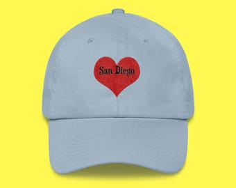 SAN Diego Cap with the word San Diego inside of an Embroidered Red Heart with FREE SHIPPING
