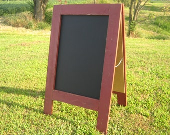 Two sided sandwich chalkboard country redwood red color sidewalk standing chalkboard double sided rustic distressed chalk board a-frame