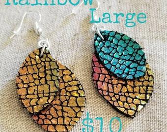 Iridescent Rainbow Leather Earrings