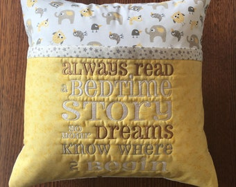 Book Pillow - elephants & owls Embroidered Pocket