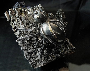 Silver pendant, gothic jewelry, spider, sterling silver