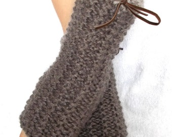 Wrist Warmers Fingerless Gloves Handknitted in Earth Brown Beige with Suede Ribbons women accessory