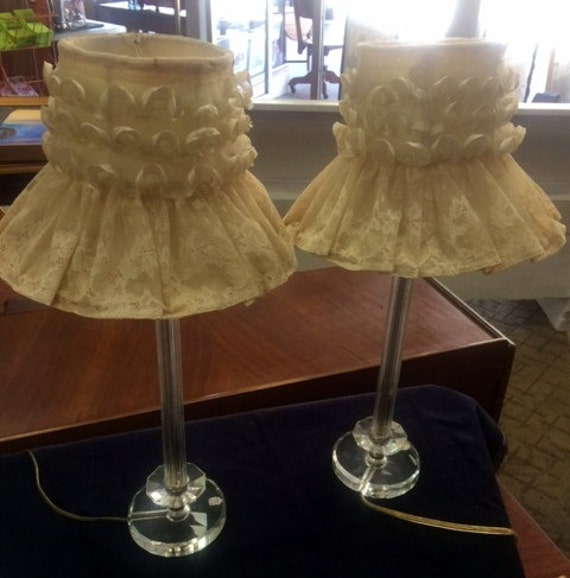 Bedroom lamps pair of 1940's Davfin hand cut crystal boudoir lamps with shades