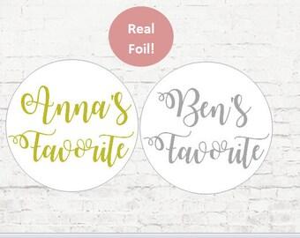 Personalized Foil Stickers, Custom Wedding Stickers, Custom Wedding Favor , His Favorite Her Favorite Stickers,  Gold Stickers, Favor Bag