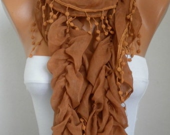 Valentine's day gift,Caramel Ruffle Cotton Scarf,Clothing gift, Cowl Scarf, Shawl, Gift For Her, Women Fashion Accessories,Birthday Gift
