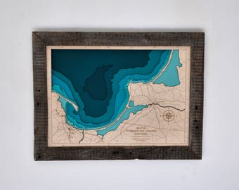 The bay of Gdańsk- 3D maritime map with frame