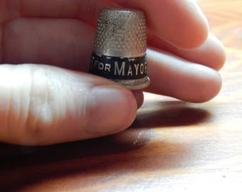 Ted Busch for Mayor Thimbles; 1951 Old Thimble; Set of Two Sewing Thimbles; Antique Sewing Thimbles; Made in the 1950's; Holland Michigan