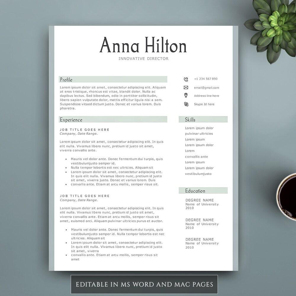 Kreative Lebenslauf Vorlage für Word und Seiten. Füllen Sie