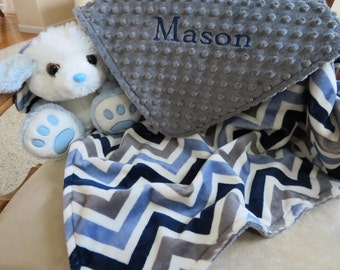 Baby Blanket, Personalized Baby Boy Blanket, Navy Gray Chevron  Baby Boy Blanket, Baby Gift, Baby Shower Gift, Minky Baby Blankets