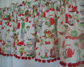 Custom-made valances, panels, tiers - you choose size -lined or unlined -Rod pocket or grommets - Pom Poms Vintage Fiesta colors Red Green