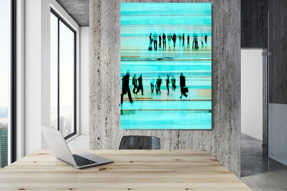 """Going To Work 4,  Art for Your Office, Office Wall Art, Teal Corporate Office Decor, Extra Large Canvas Art Print up to 72"""" by  Irena Orlov"""