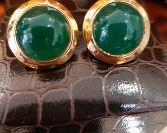 18 k gold and green agate 1970s clips
