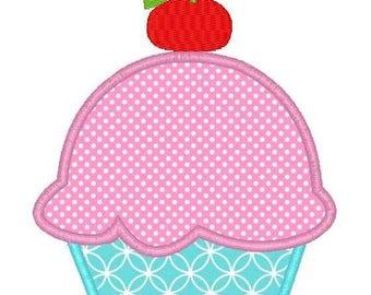 Cherry Cupcake Machine Embroidery Applique Design