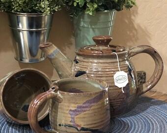 Stoneware Pottery Teapot set w/two cups