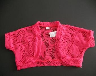 Girls Pink Floral Lace Shrug - Pink Knitted Bolero Cardigan - Pink Mesh Shrug