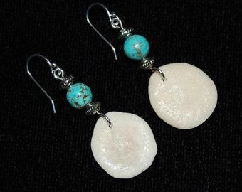 Fossilized Sand Dollar Earrings