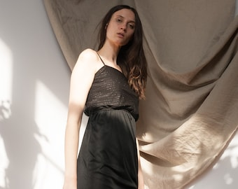 1970's Tea Length Black Dress