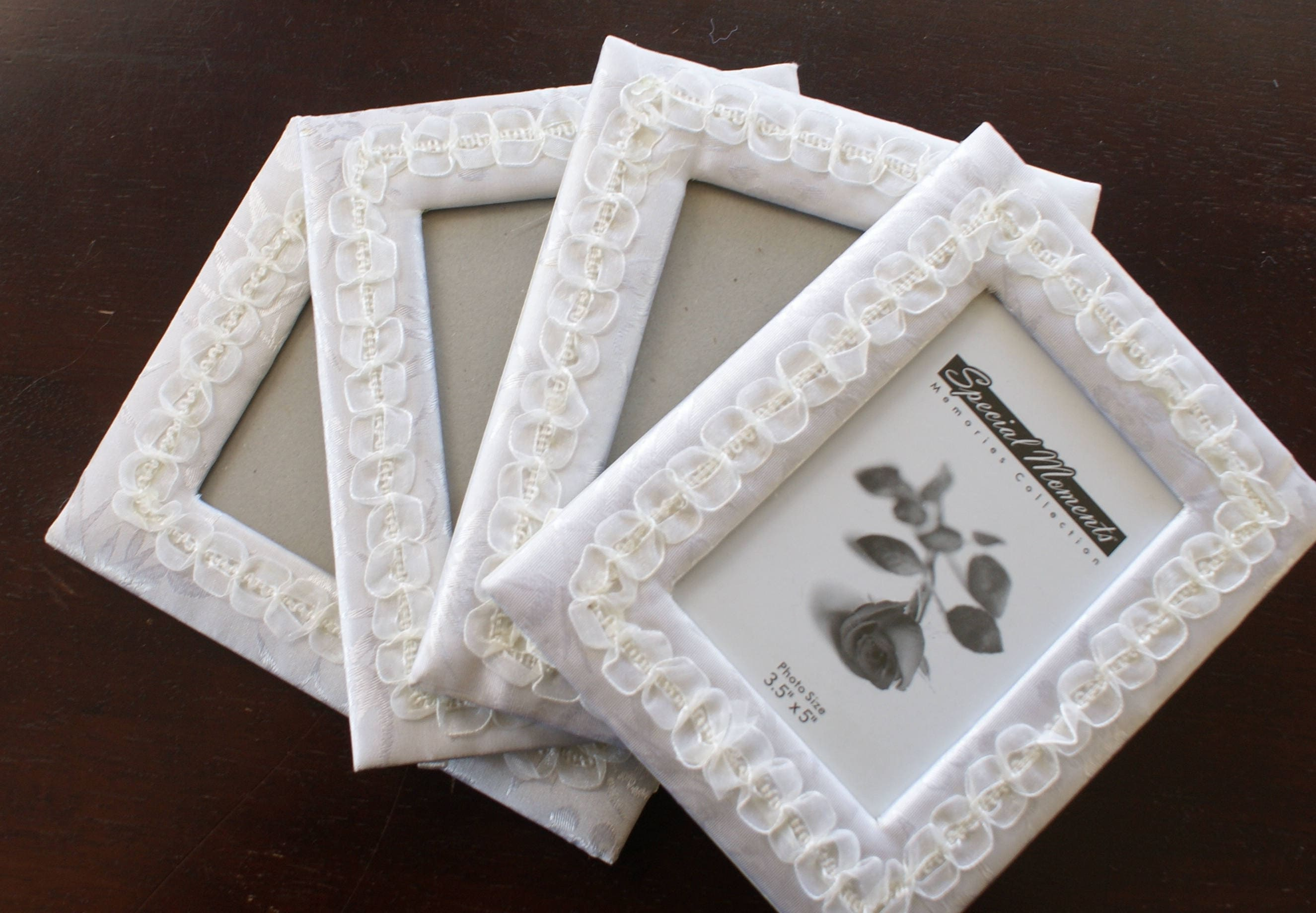 Wedding frames - 4 satin frames - white wedding frames - 3.5 x 5 ...