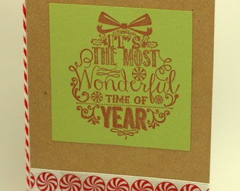 Rustic Peppermint Christmas Greeting Cards Boxed Set of 6
