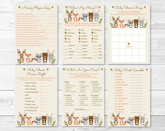 Woodland Animal Baby Shower Games Package / Woodland Baby Shower / Fox / Deer / Bear / 6 Printable Games / Printable INSTANT DOWNLOAD A187