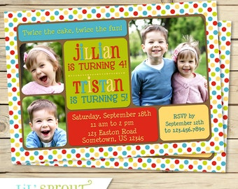 Triplet joint birthday invitation sibling birthday joint birthday photo invitation sibling birthday invitation dual birthday shared party boys or girls of any age custom colors stopboris Image collections